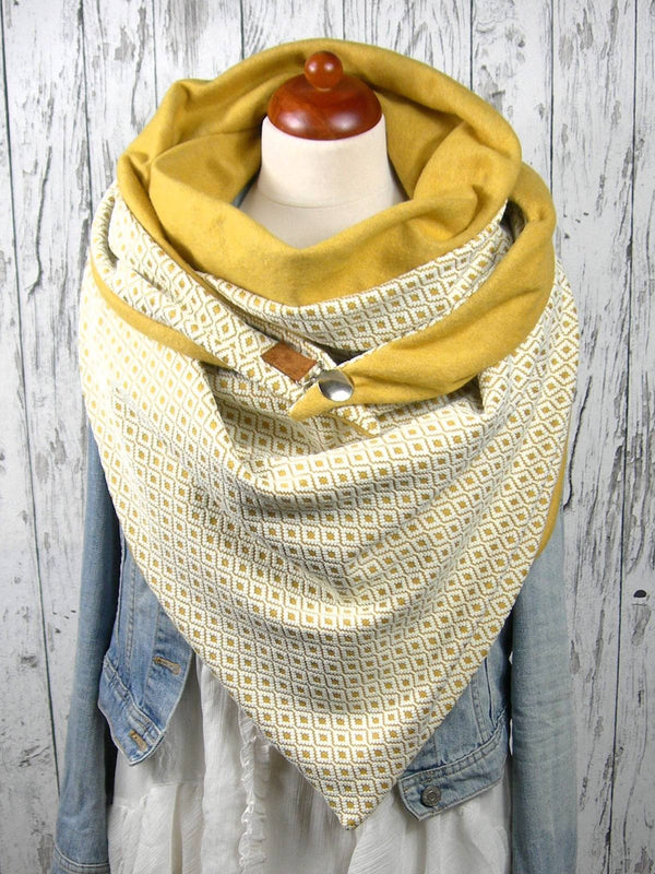 Yellow Printed Floral Casual Cotton Scarves