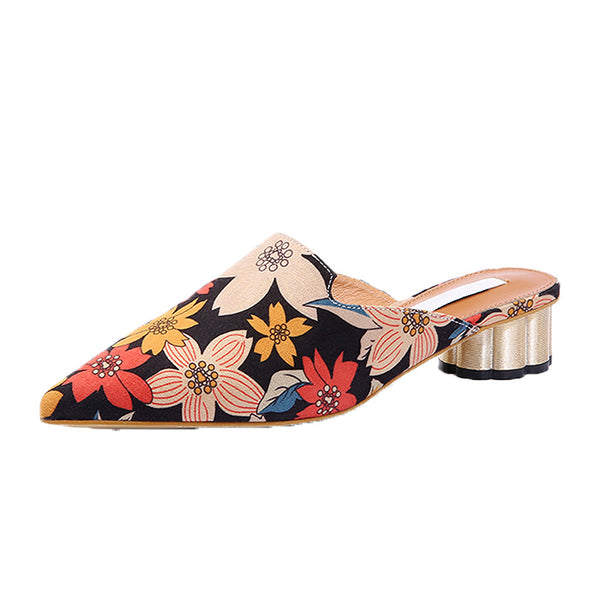 Chunky Heel Floral Print Daily Slippers