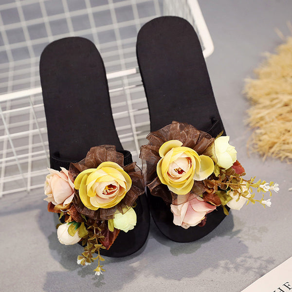 Holiday Flower Wedge Slippers