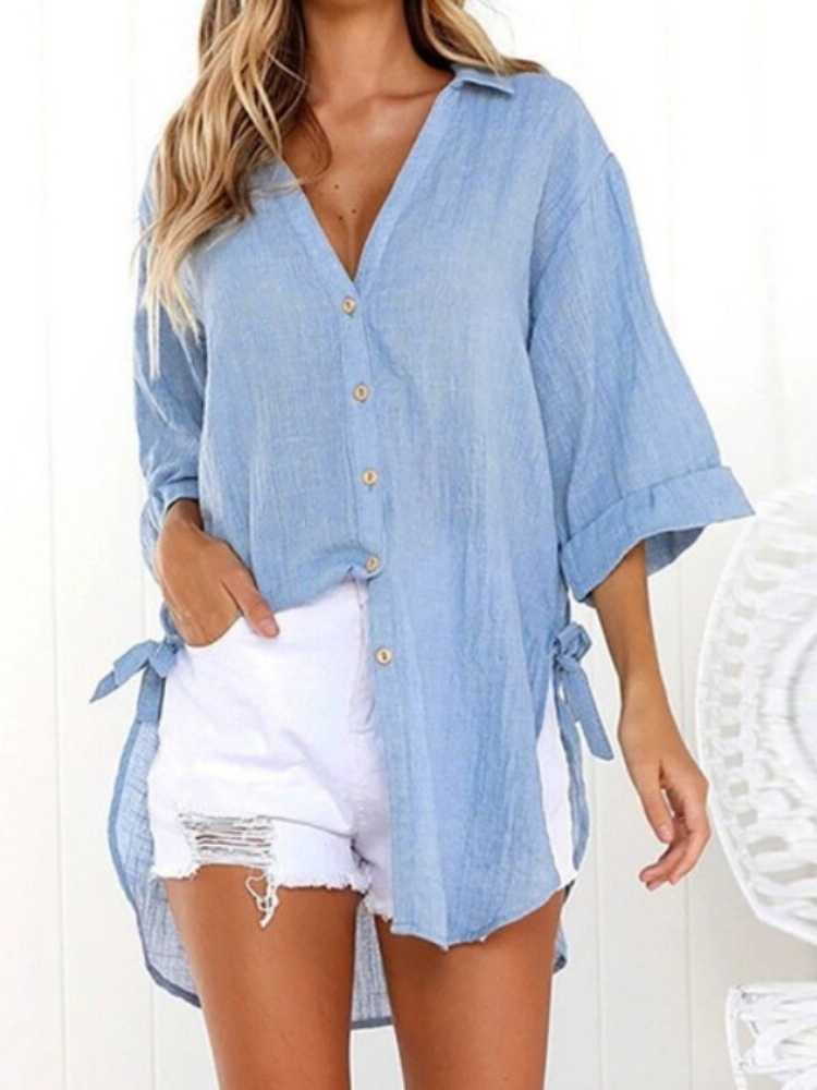 Women Linen Solid Lace-up Sweet Buttoned Casual Tops
