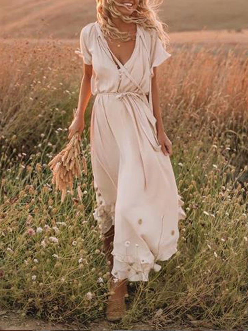 Beige Frill Sleeve Women Summer Maxi Dress