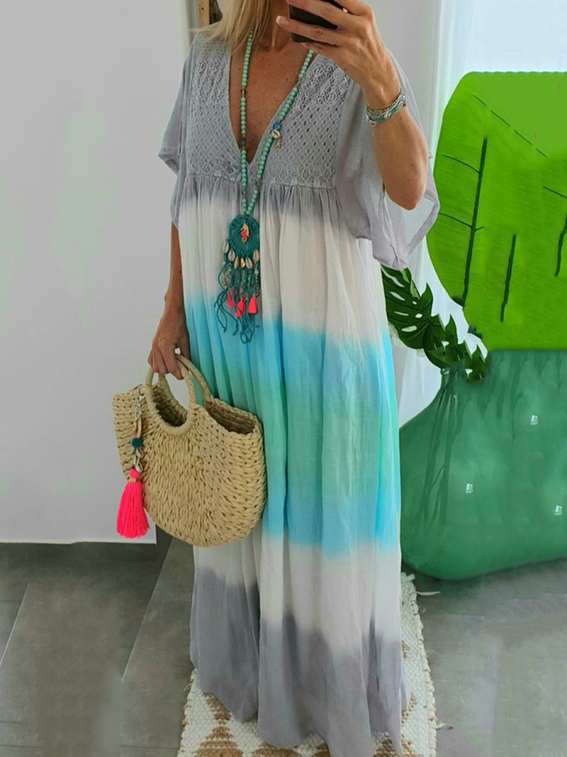 Women Plus Size Color-block Beach Summer Maxi Dresses