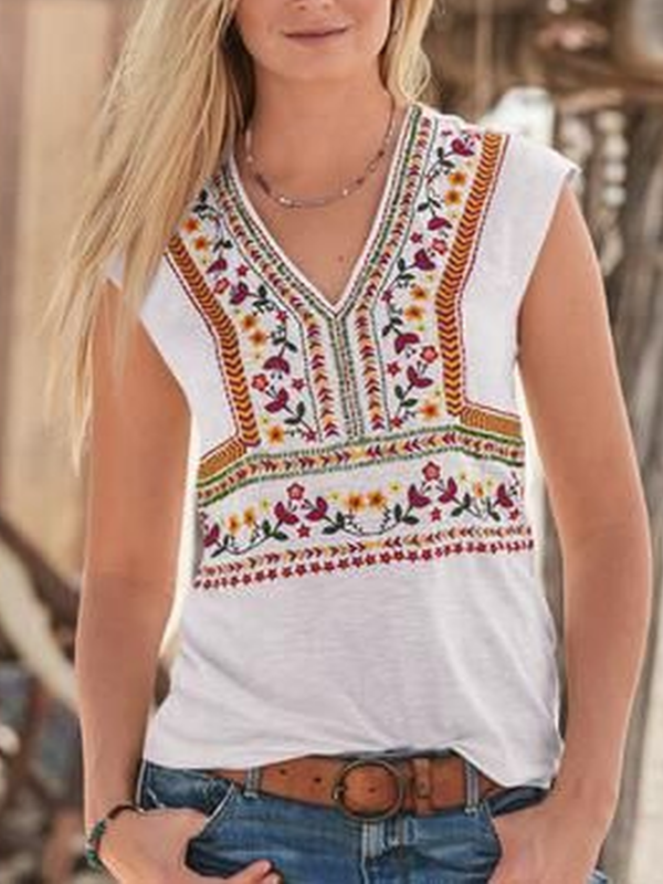 Sleeveless V Neck Shirts & Tops