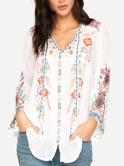 Casual V Neck Long Sleeve Blouse