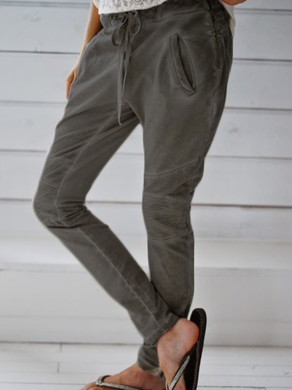 Khaki Linen Casual Pockets Patchwork Pants