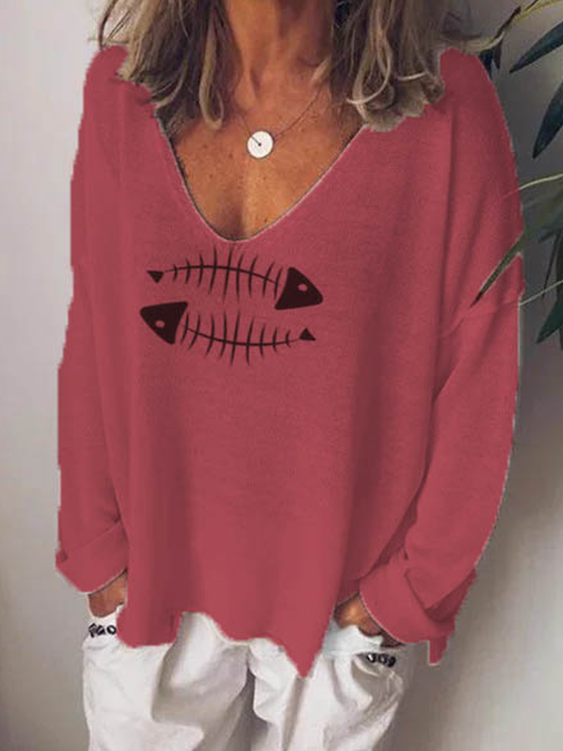 Cotton-Blend Casual V Neck Animal Shirts & Tops