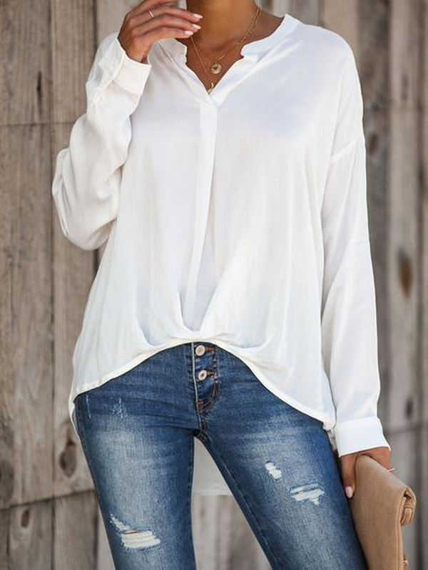 Solid Casual Buttoned Shirts & Tops