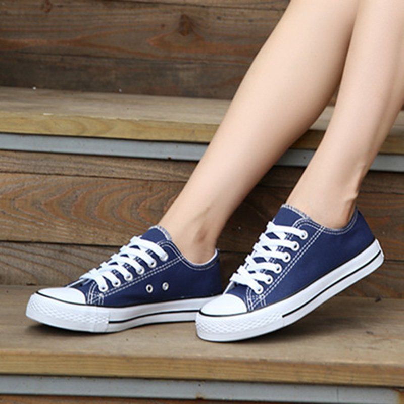Women Simple Casual Canvas Lace-Up Sneakers