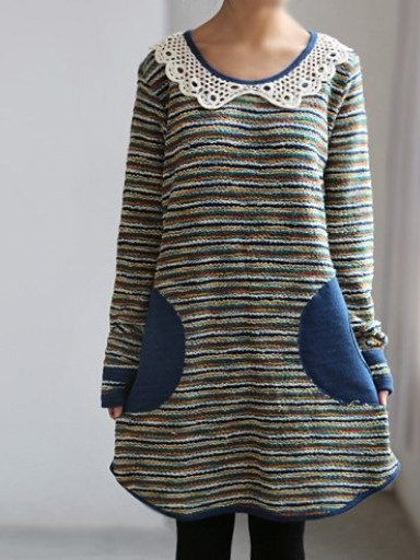 Striped O-Neck Long Sleeve Cotton Dresses