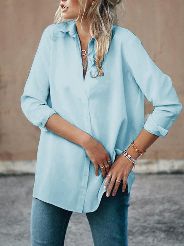 Paneled Blouses Long Sleeve Shirt Collar Casual Shirts
