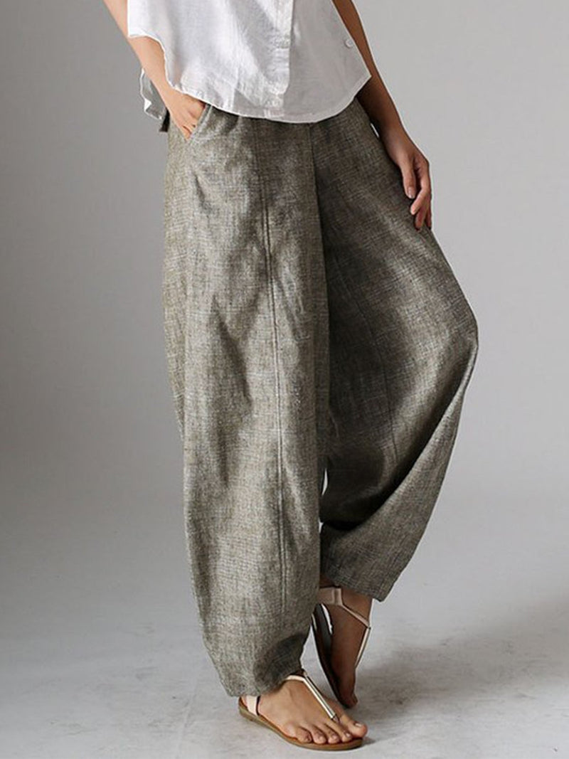 Natural Casual Plain Linen Pants