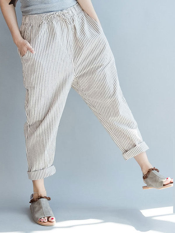 Pockets Striped Casual Pants