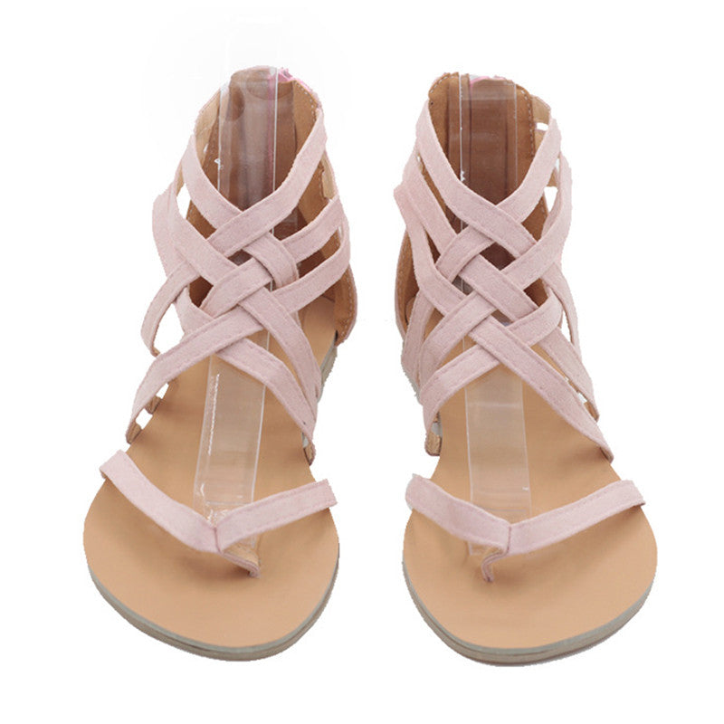 Women Flip Flops Plus Size Sandals Casual Flat Sandals with Zipper