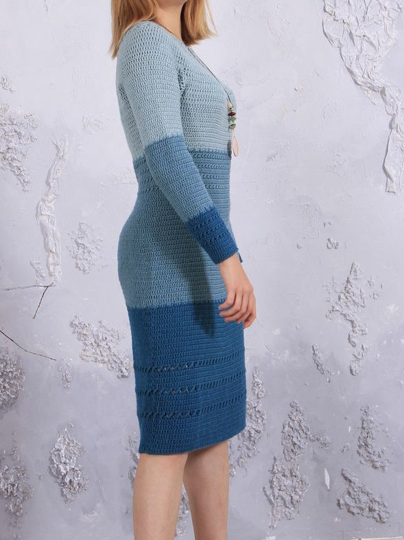 Blue Long Sleeve Crew Neck Cotton-Blend Dresses