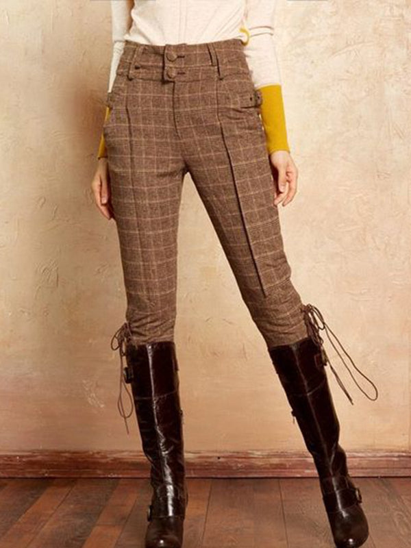 Plus Size Khaki Vintage Buttoned Wool Blend Pants