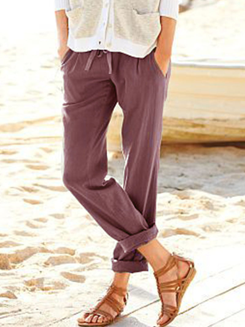Green Cotton-Blend Solid Casual Pants