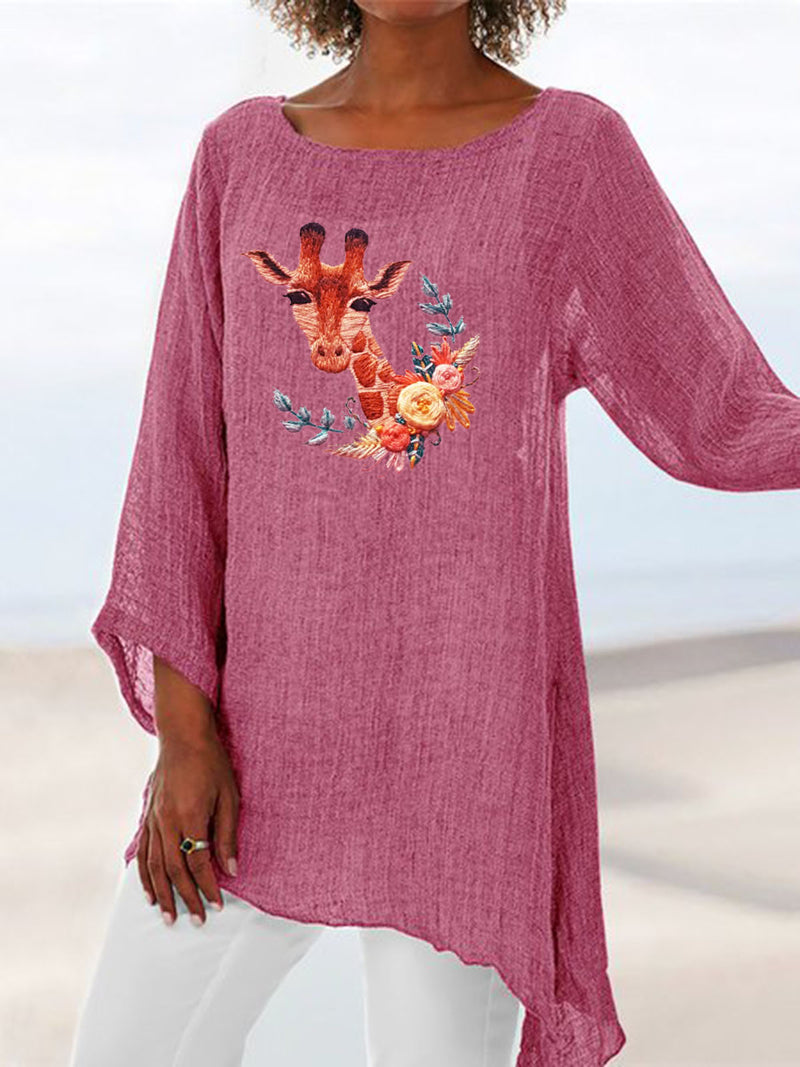 Paneled Long Sleeve Casual Animal Shirts & Tops
