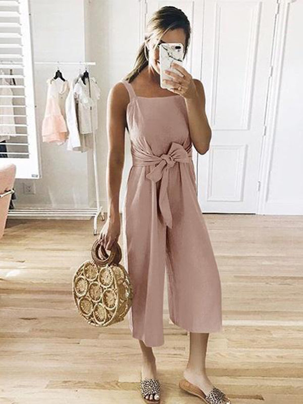 Casual Sleeveless Linen Jumpsuits
