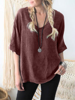 Casual Plain Short Sleeves Loose Linen Blouse Shirts