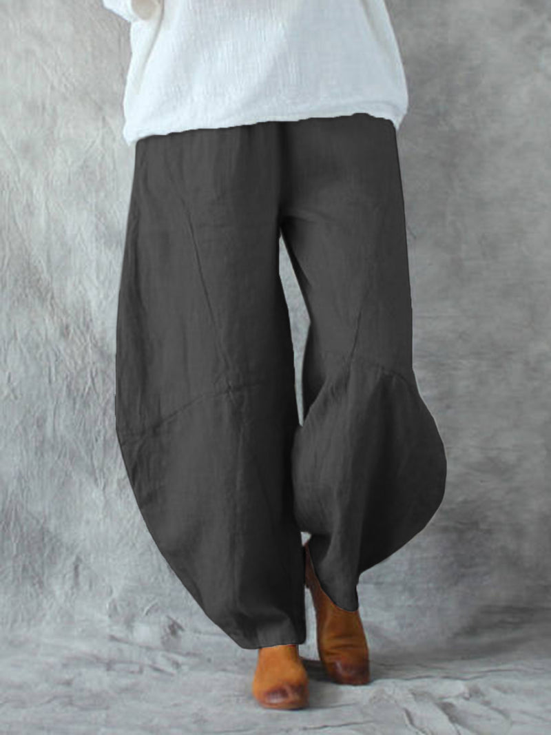 Solid Pockets Wide Leg Loose Harem Baggy Pants