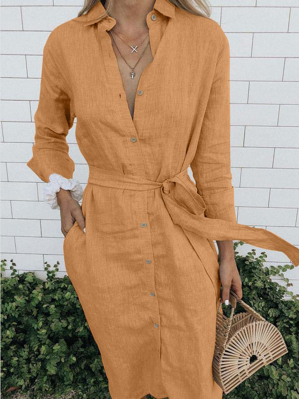 Plus Size Casual Buttoned Long Sleeve Pockets Dresses