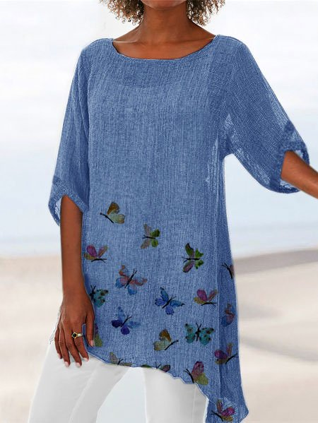 Cotton Butterfly Crew Neck Casual Shirts & Tops