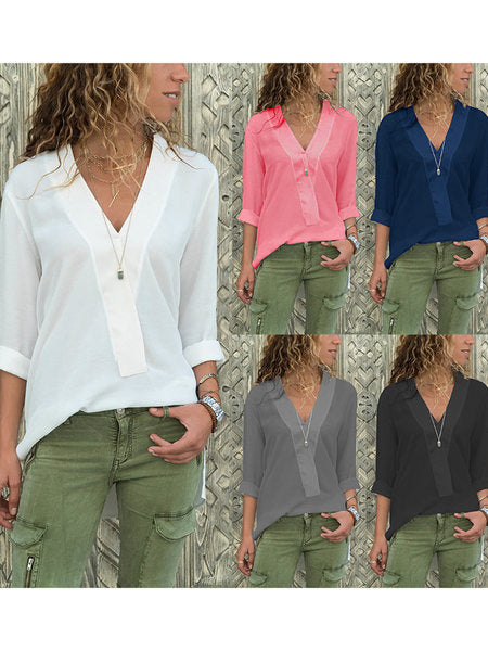 Solid Casual Blouses