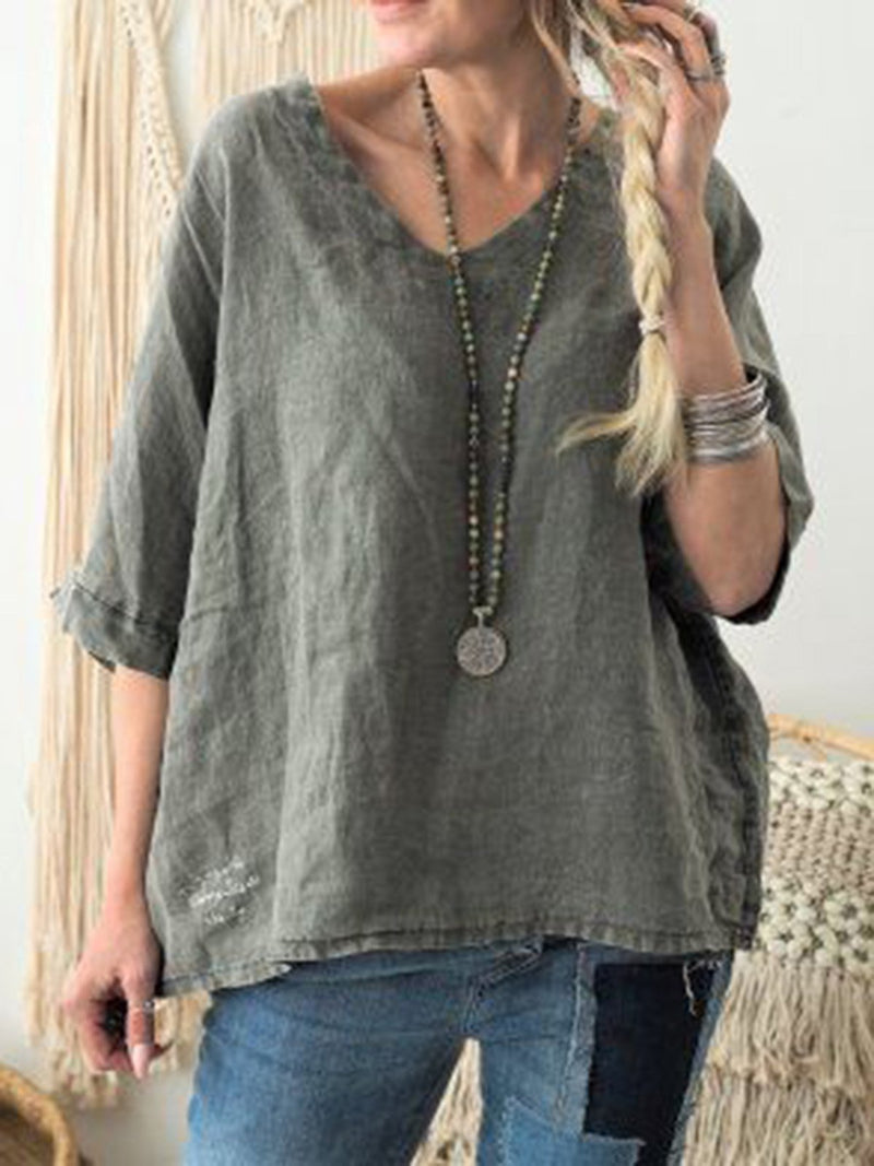Casual Half Sleeve Linen Solid Shirts & Tops