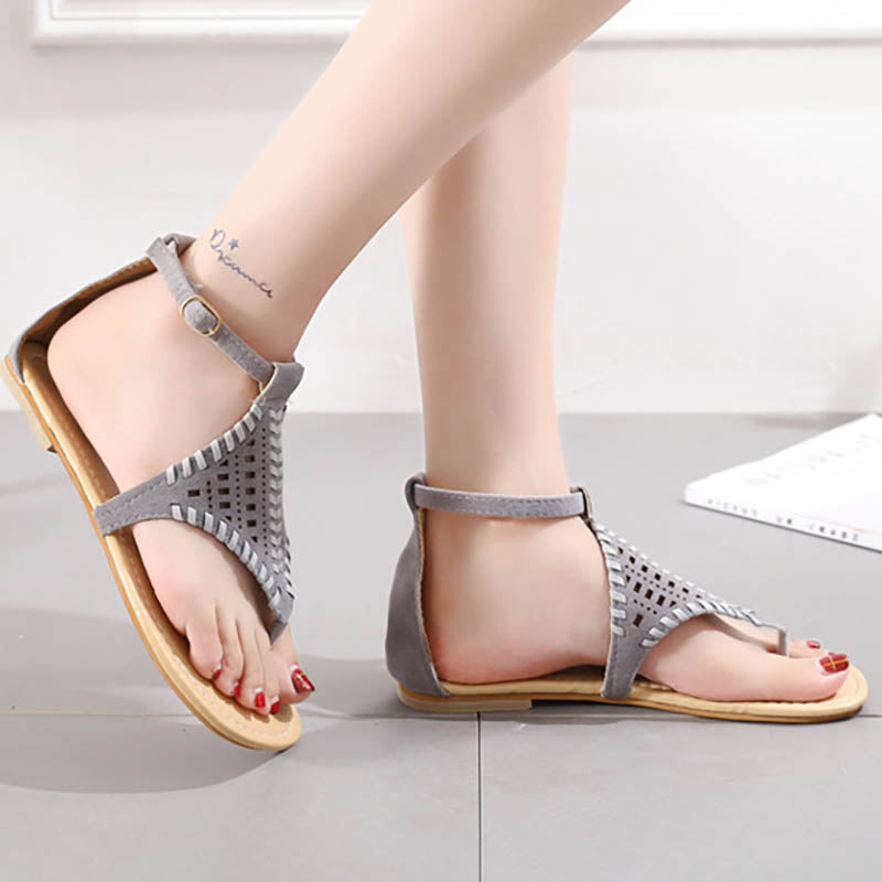 Hollow Ankle Strap Geometric Flats