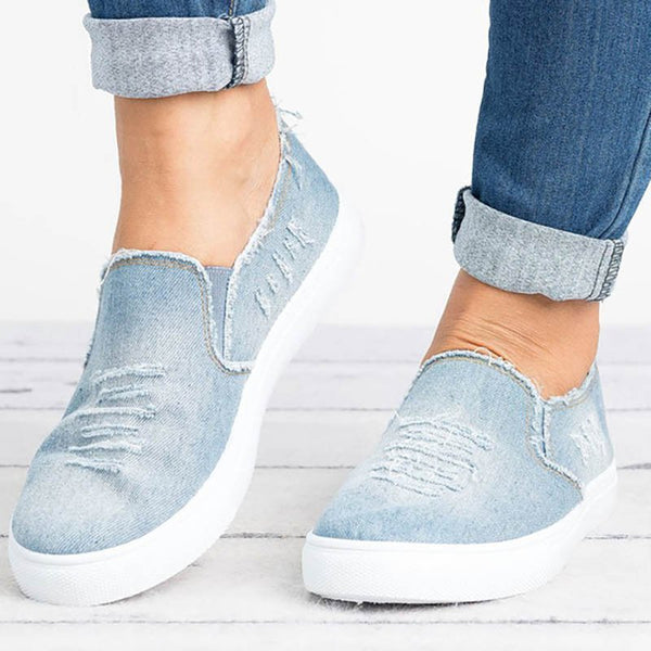 Worn Hole Round Toe Denim Flats