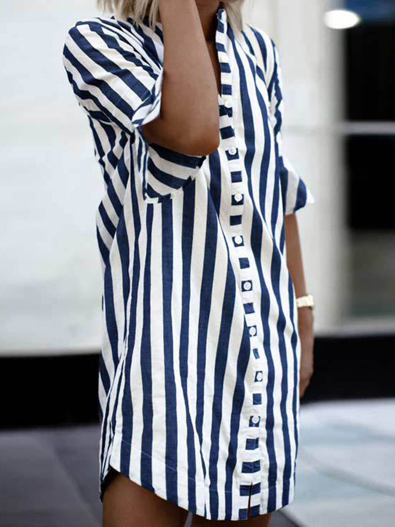 Striped Cotton Casual Dresses