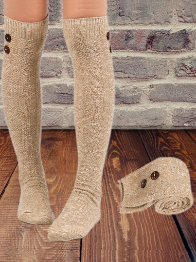 Wool Blend Stockings Female Amazon Student High Socks Buttons Decorative Knit Long Socks