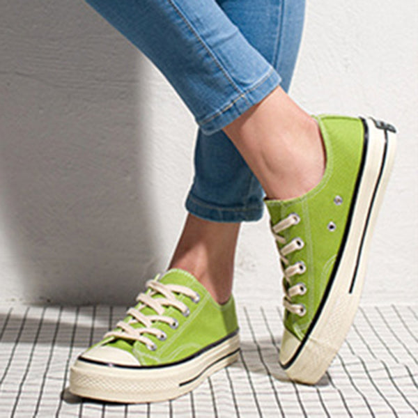 Womens 7 Colors Casual Lace-Up Canvas Sneakers