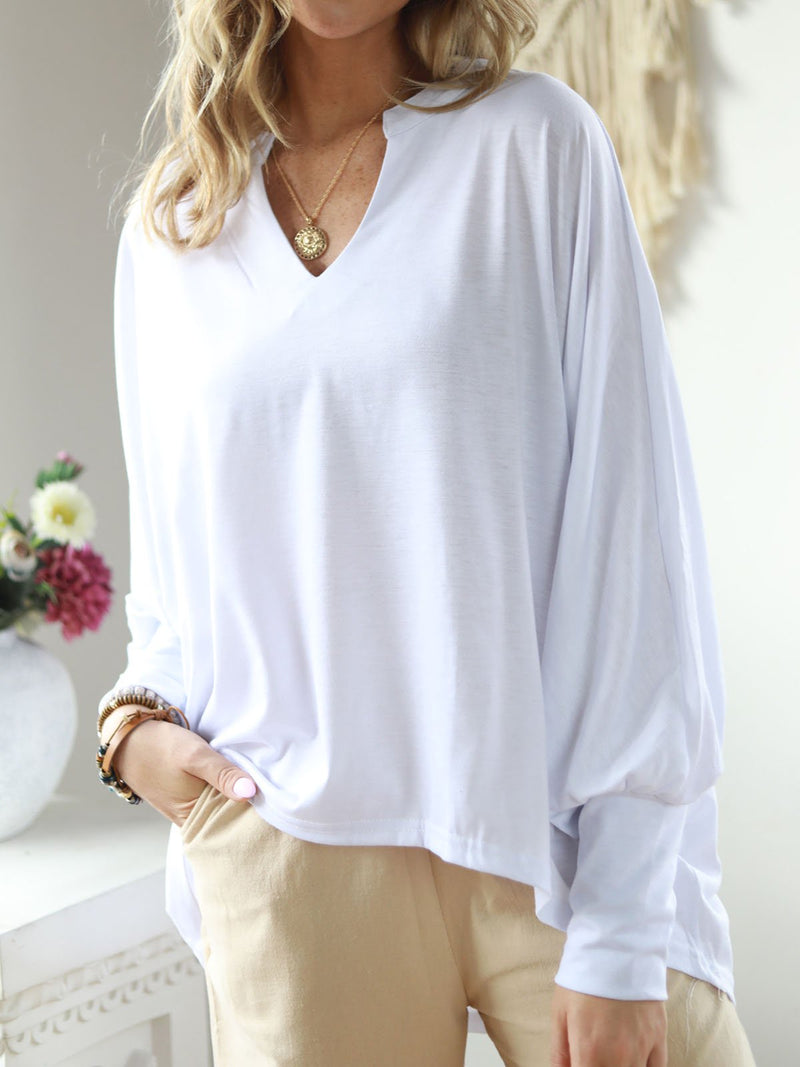 Casual Long Sleeve V Neck Cotton-Blend Blouses