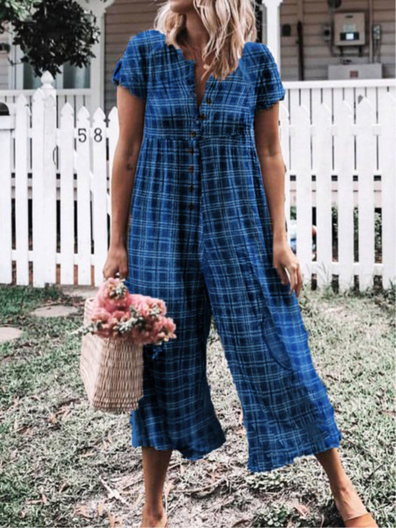 Short Sleeve Buttoned Casual Plaid Plus Size Jumpsuits