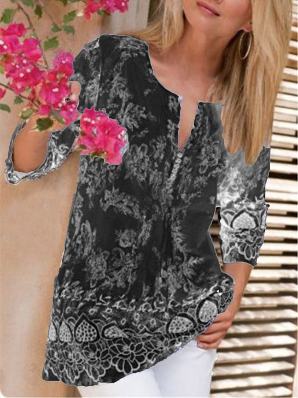 Holiday Floral Printed 3/4 Sleeve Plus Size Blouse