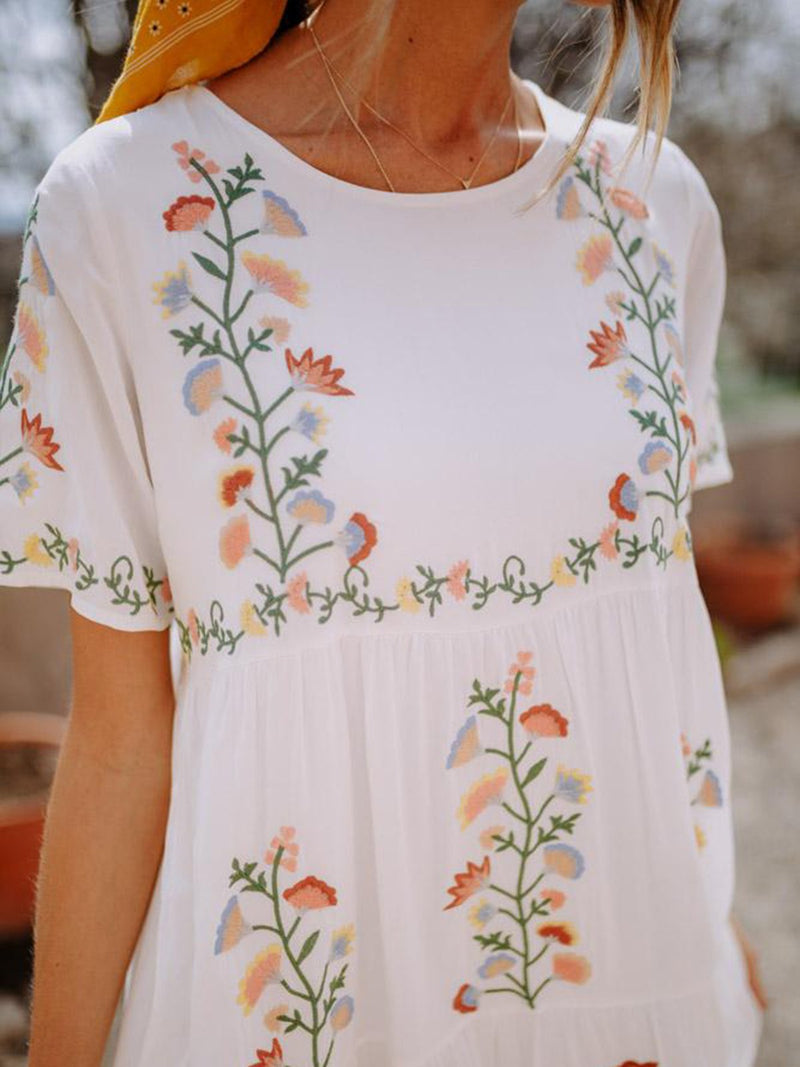 Women Round Neck Cotton Holiday Floral Dress