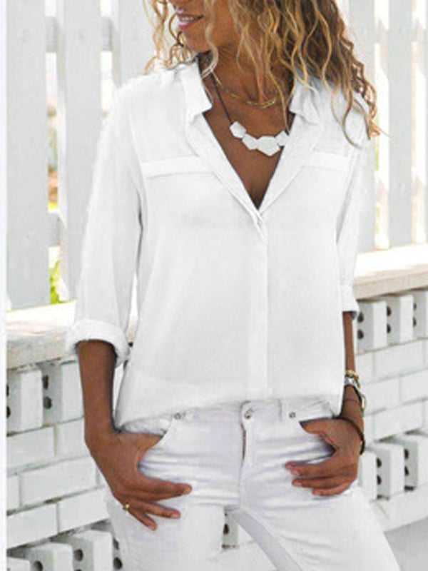 Women Fashion Turn Down Collar Solid  V Neck Long Sleeve Blouse