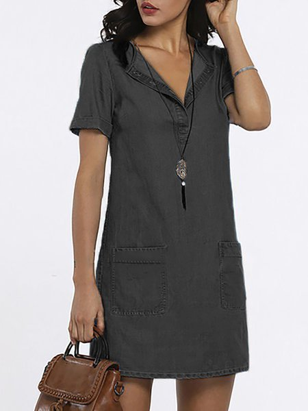 Shift V Neck Paneled Short Sleeve Midi Dress
