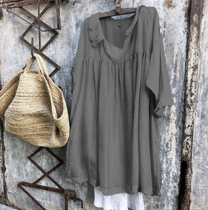 Women Shirt Collar Half Sleeve Solid  Loose Casual Dresses