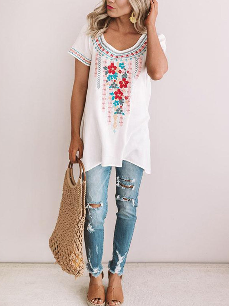 Casual Printed Crew Neck T-Shirts