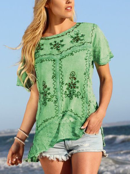 Women Summer Embroidered Cotton Casual Shirts & Tops