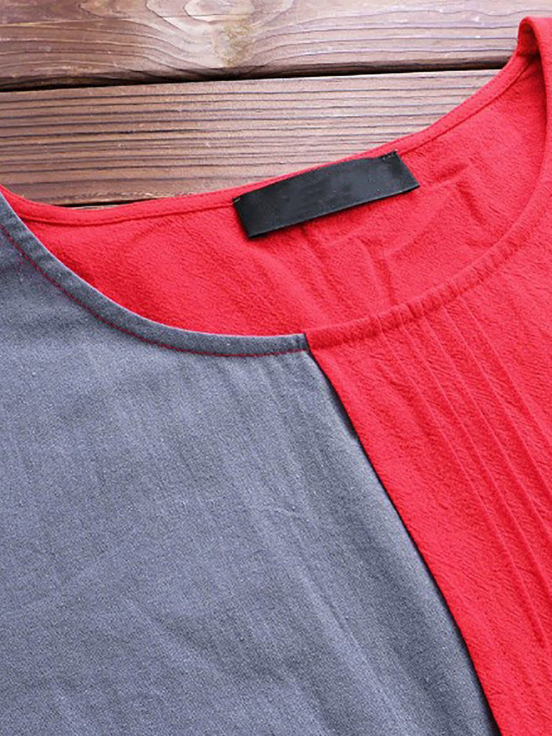 Vintage Color-Block Crew Neck Tops Causal Half Sleeves Patchwork T-shirts