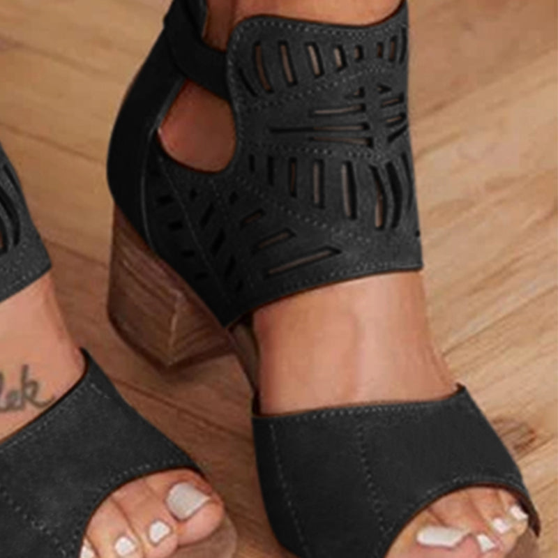 Chunky Heel Artificial Leather Cut Out Sandals Summer Shoes