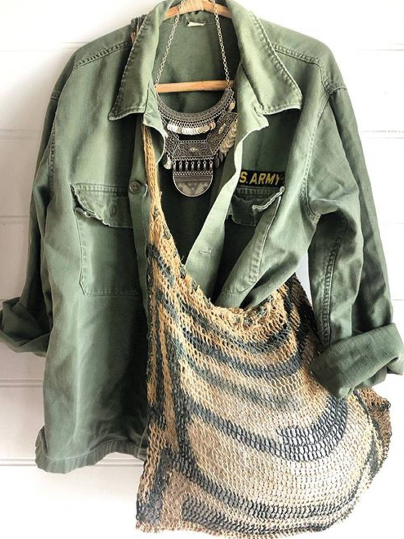 Army Green Casual Plain Outerwear