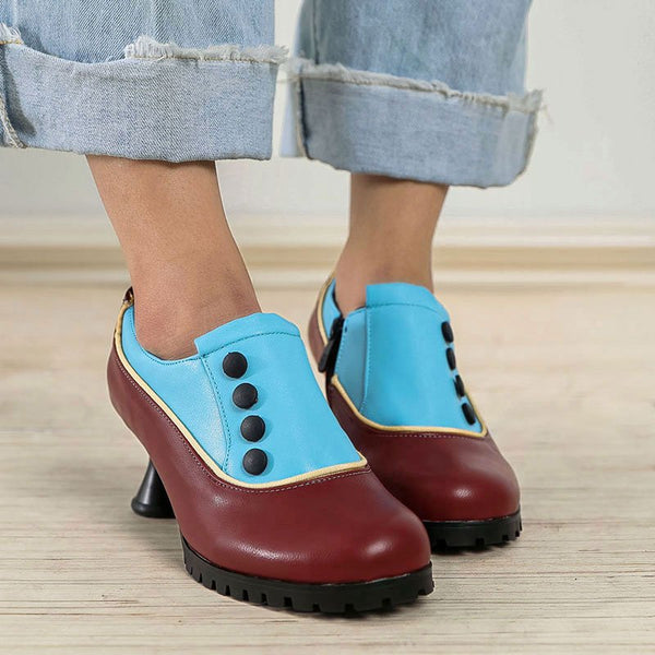 Women Spool Heel Round Toe Button Elegent Casual Zipper Ankle Boots