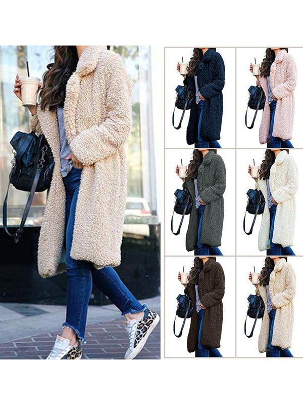 Long Sleeve Shawl Collar Solid Teddy Bear Coats