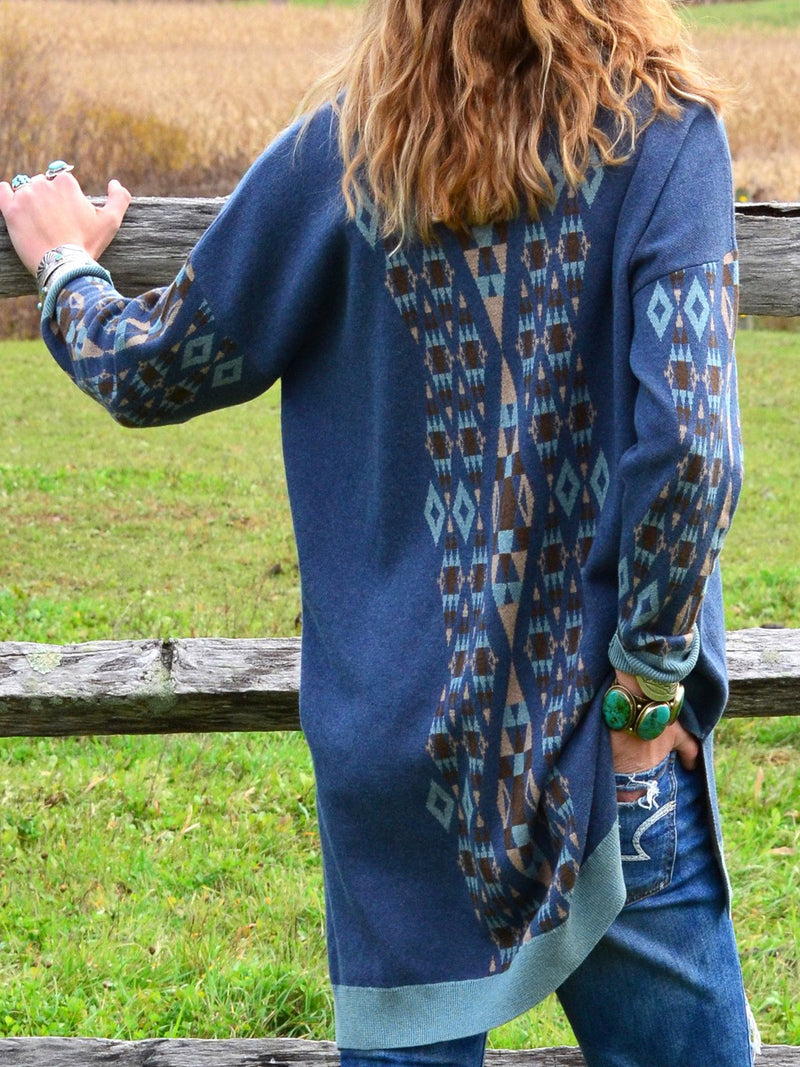 Blue Long Sleeve Cotton Shirts & Tops