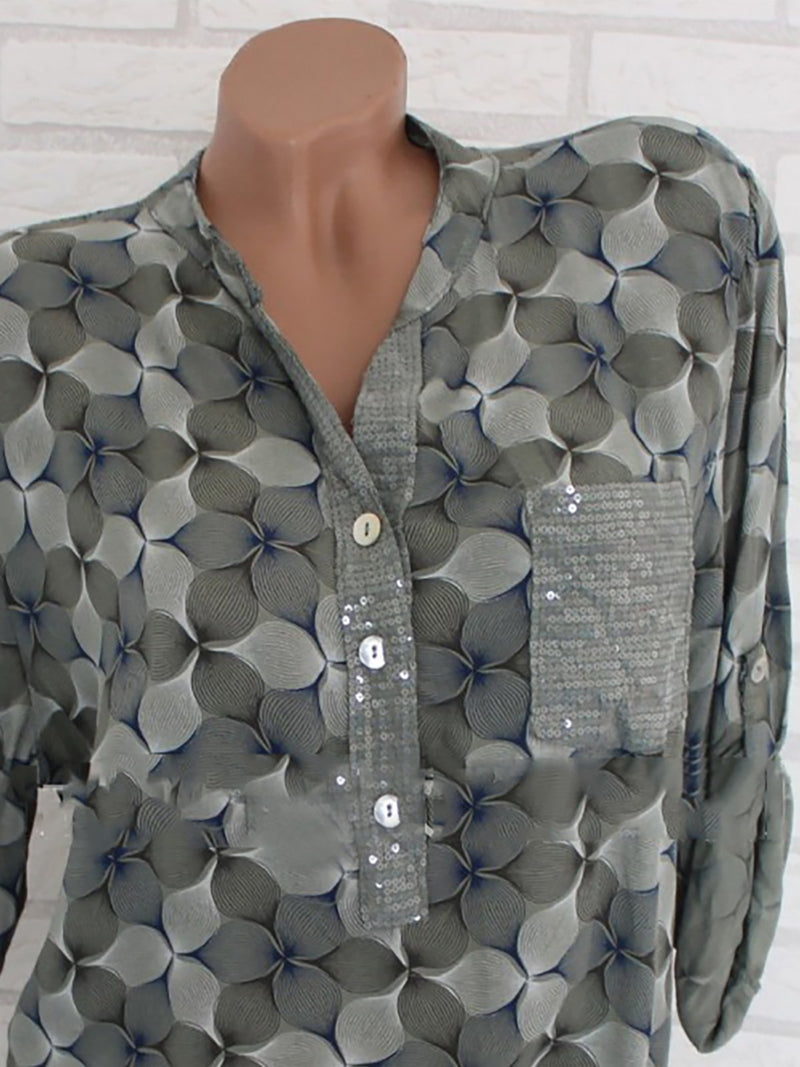 Long Sleeve Chiffon Abstract Stand Collar Printed/Dyed Plus Size Blouse