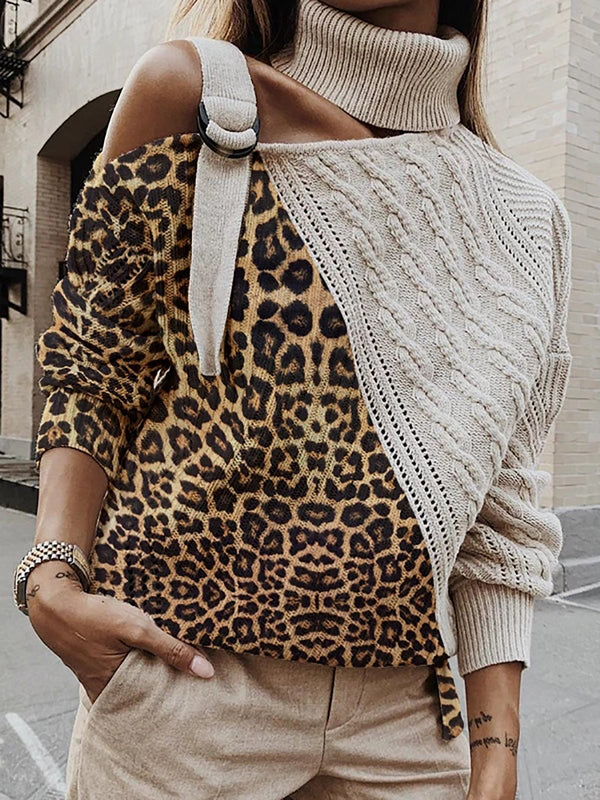 Knitted Leopard Paneled Sweater Plus Size Pullover
